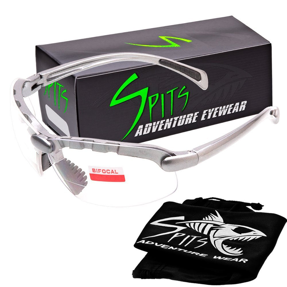 C2 TOP or Bottom Bifocal Safety Glasses, Silver Frame, Various Lens Options ANSI Z87.1+