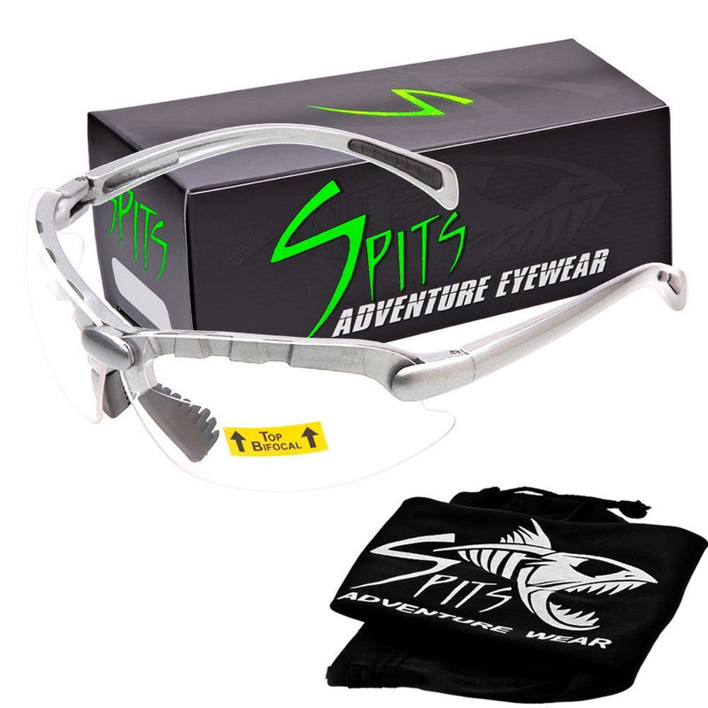 C2 Top Focal OR Bottom Bifocal Safety Glasses, Silver Frame, Various Lens Options ANSI Z87.1+