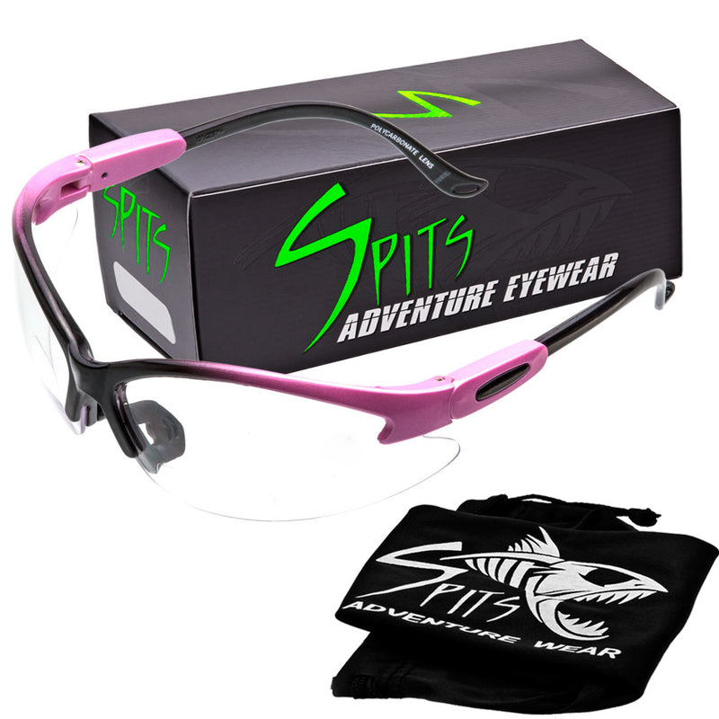Cougar TWO TONED PINK/BLACK Safety Glasses, Various Lens Options, including Photochromic