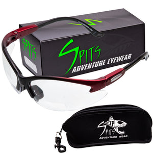 Cougar TWO TONED RED/BLACK Safety Glasses, Various Lens Options, including Photochromic