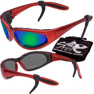 Sharx Red Frame Polarized Sunglasses with Foam Padded Options