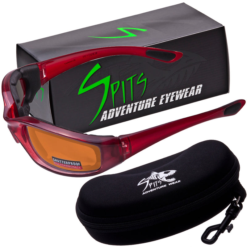 Kickback Translucent Red Frame Foam Padded Motorcycle Sunglasses, Various Lens Options