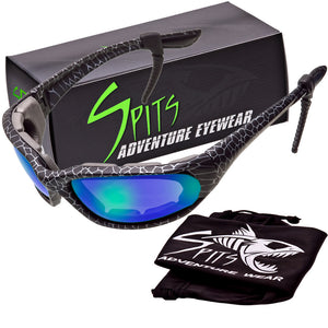 "Kickstand Foam Padded Sunglasses ""Cracked Black Ice"" Frame, Various Lens Options"
