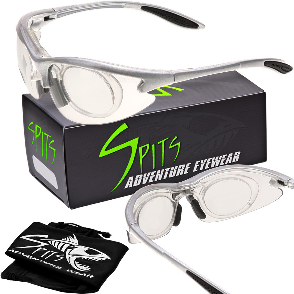 MAGshot Hunting Shooting Safety Glasses Silver Frame Full Magnifying- Various Lens and Magnifier Options