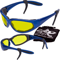 Sharx Blue Frame Polarized Sunglasses with Foam Padded Options