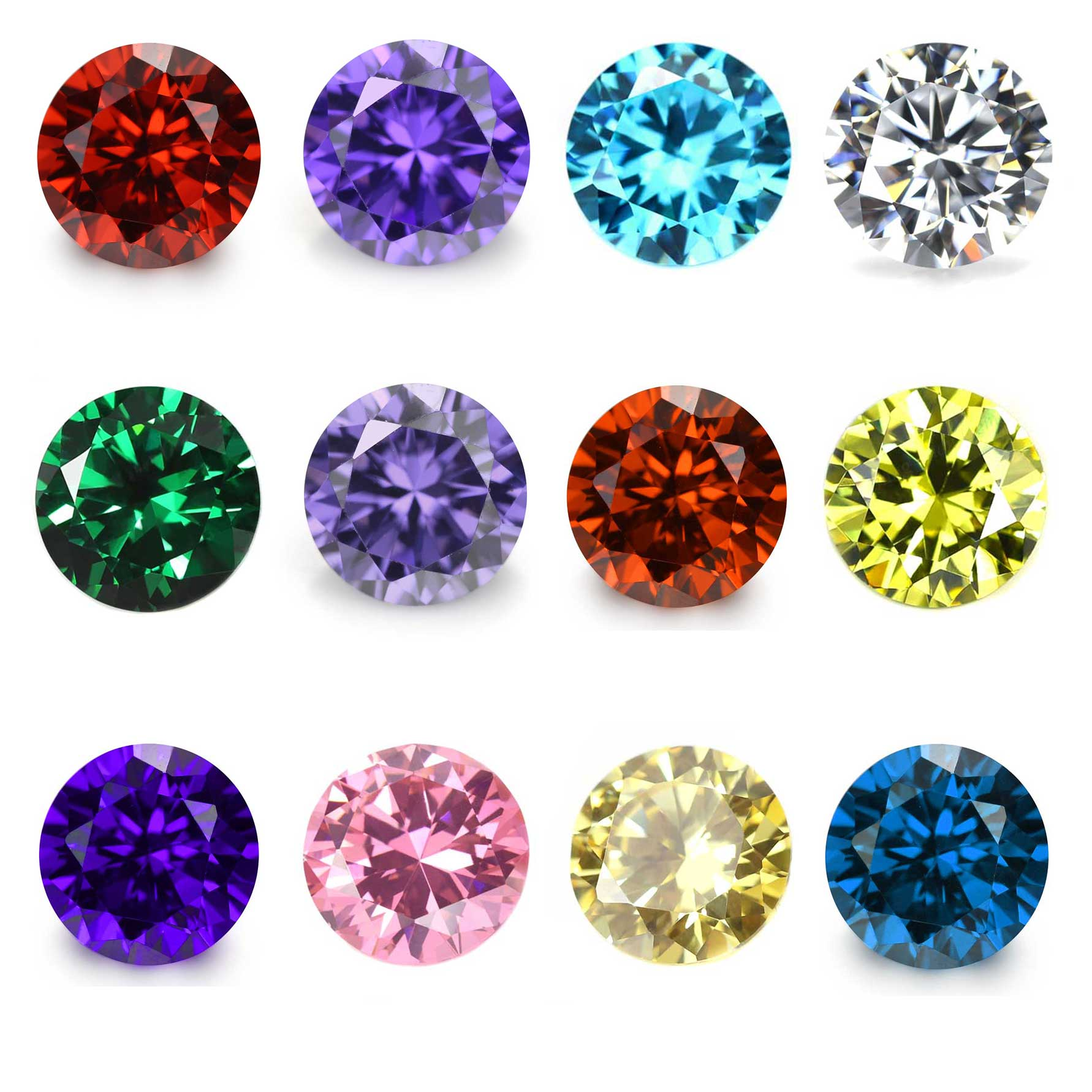 24PCS Crystal Glass Round 5MM Birthstones Floating Charms