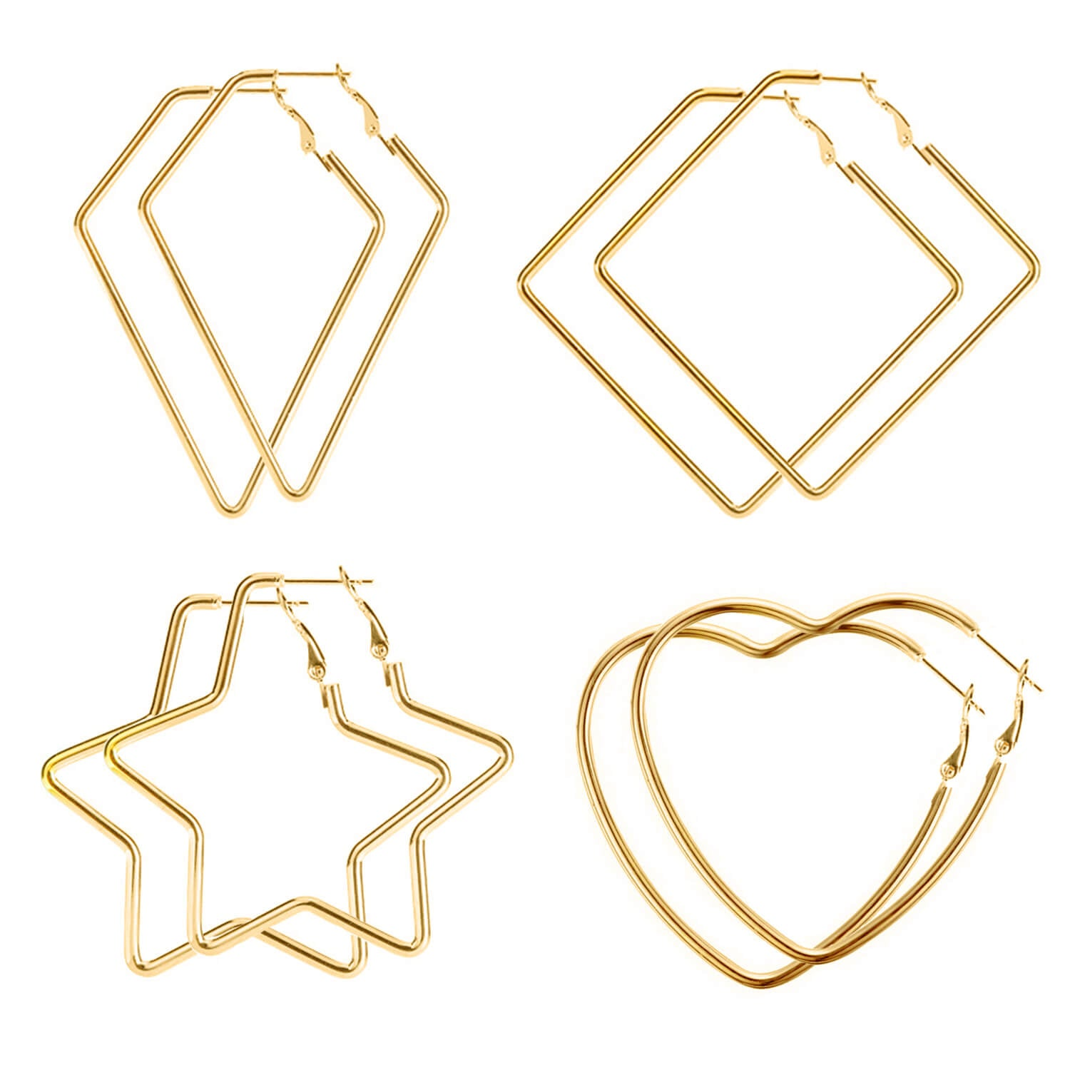 4 Pairs Geometric Big Hoop Earrings Set for Women Girls