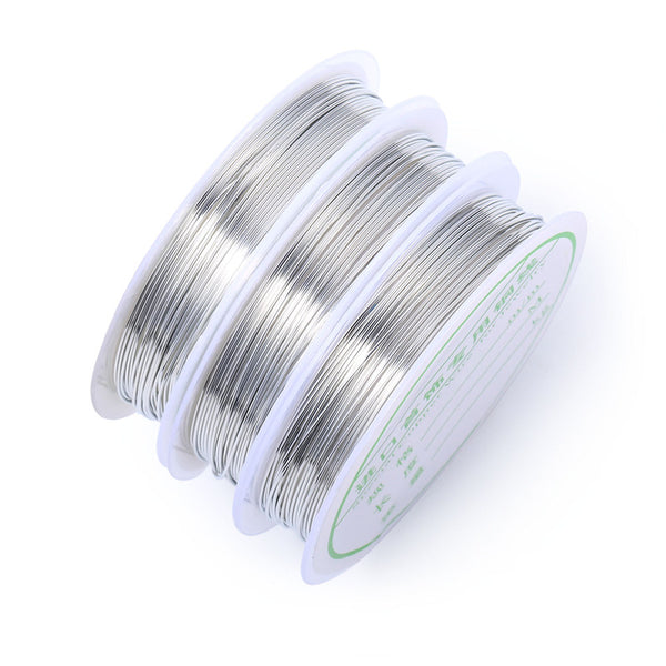 10 Rolls Silver Color Round Copper Wire