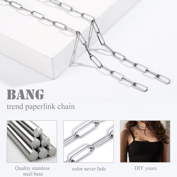 24FT Stainless Steel Paperclip Raw Chains