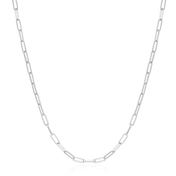 2PCS Silver Plated Paperclip Chain Necklace