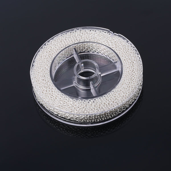 33 Feet 2MM Silver Plated Solid Brass Thin Cable O Chain Spool