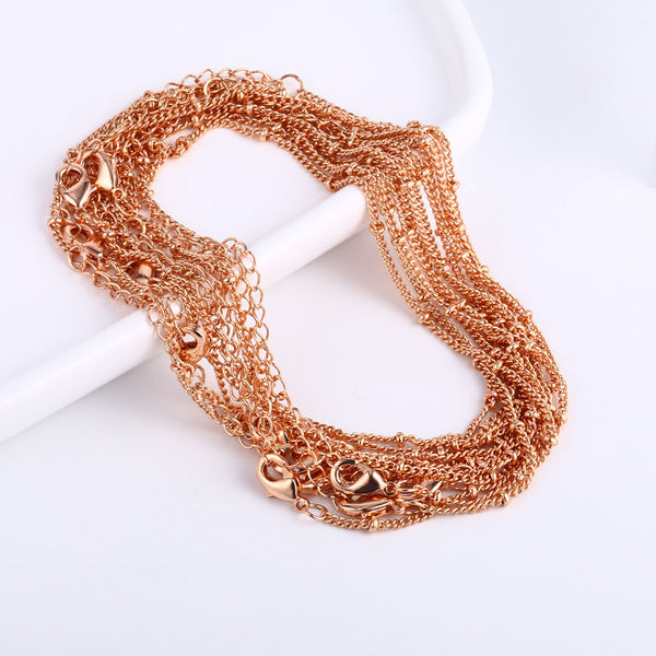 12PCS Rose Gold Satellite Chain Bracelet Chain 6.3+2 inches