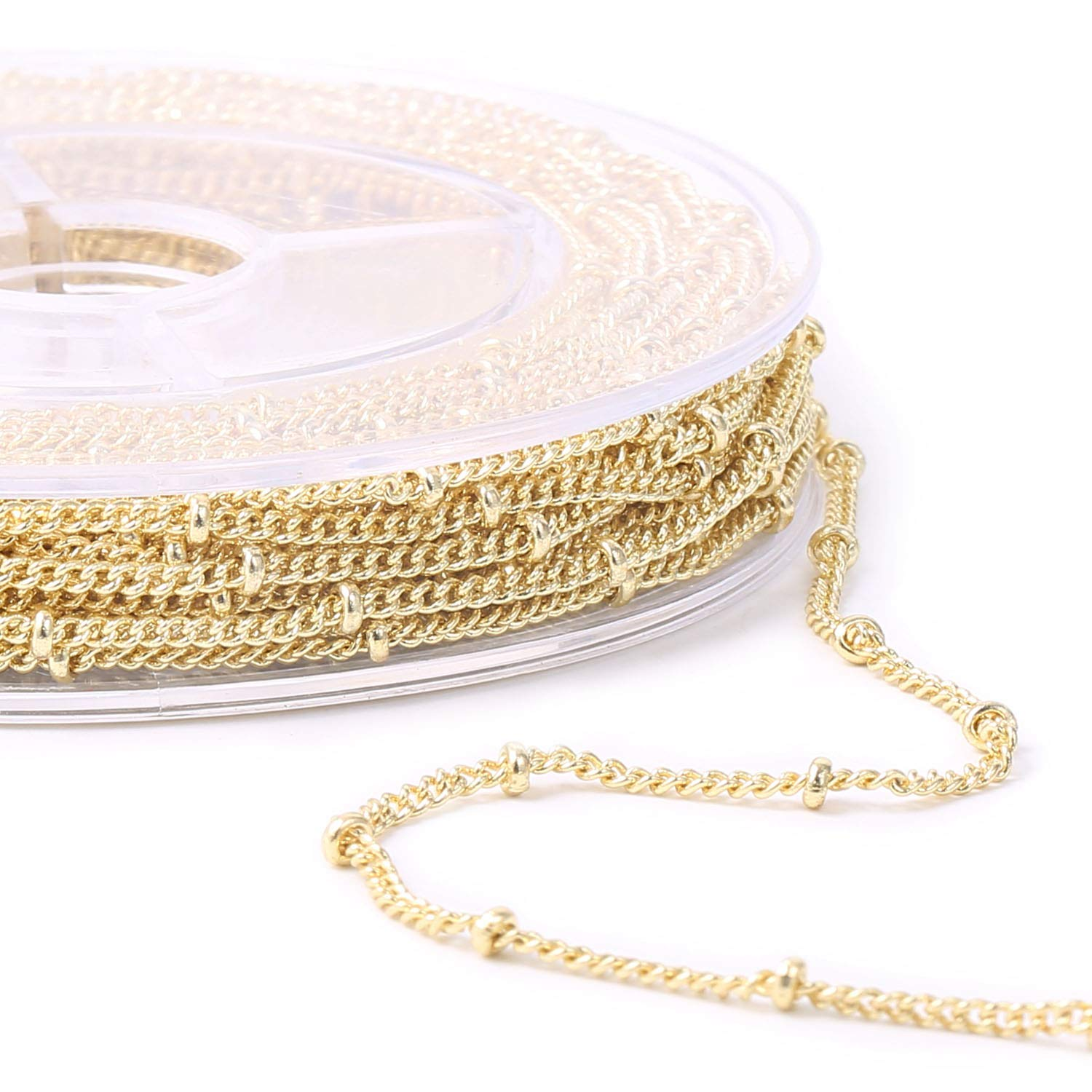 33 Feet 1.5mm 14K Gold Plated Satellite Curb Link Chain Spool with 20 Lobster Clasps and 50 Jump Rings
