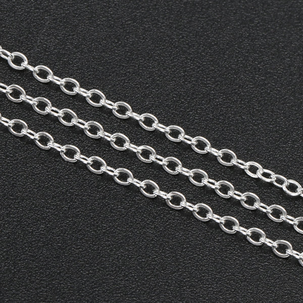 33 Feet 2 MM Silver Plated Brass Cable Chain Link Spool