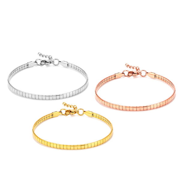 3PCS Stainless Steel Omega Chain Snake Chain Bracelet Sets
