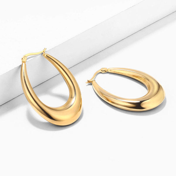 18K Gold Plated Stainless Steel Oval Hoop Earrings