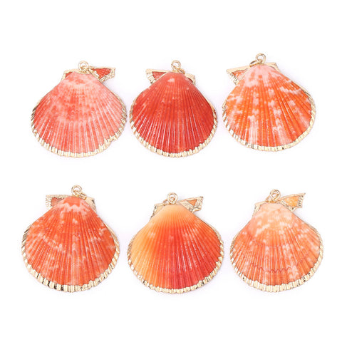 6 PCS Large Scallop Shells Pendant Orange Clam Seashells Charms