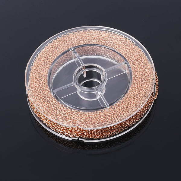 33 Feet 2MM Rose Gold Plated Brass Thin Cable O Chain Spool