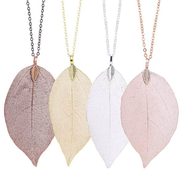 4 PCS Natural Leaf Pendant with 4 30 Inches Free Chains