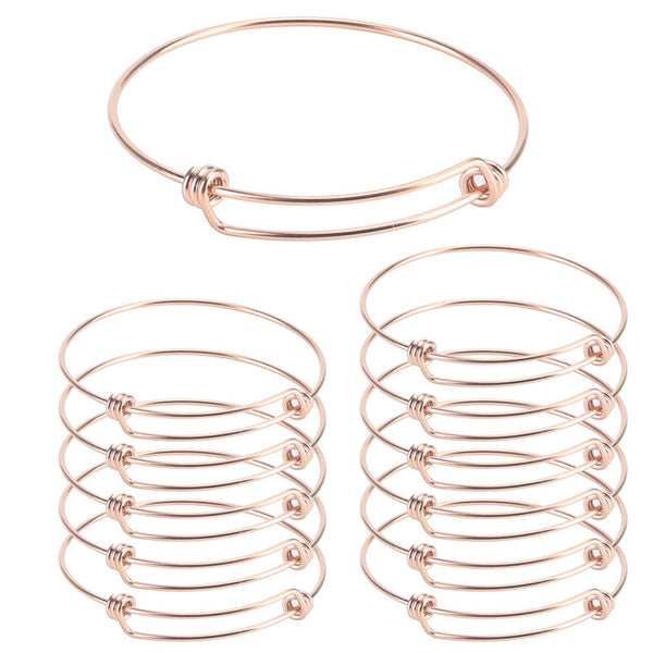 12 PCS Gold Plated Stainless Steel Wire Blank Adjustable Bangle Bracelet 2.6 - 3 Inches