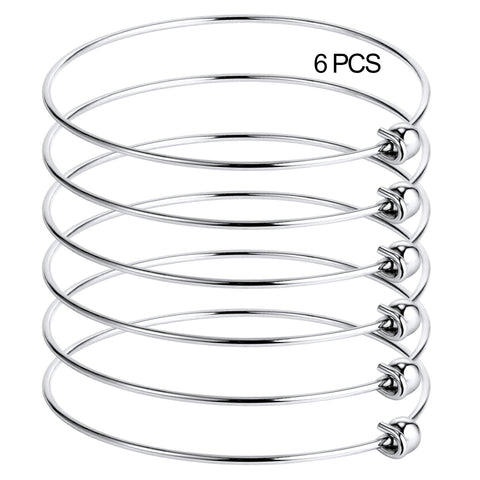6PCS Stainless Steel Ball-end Blank Wire Charm Bangle Bracelet