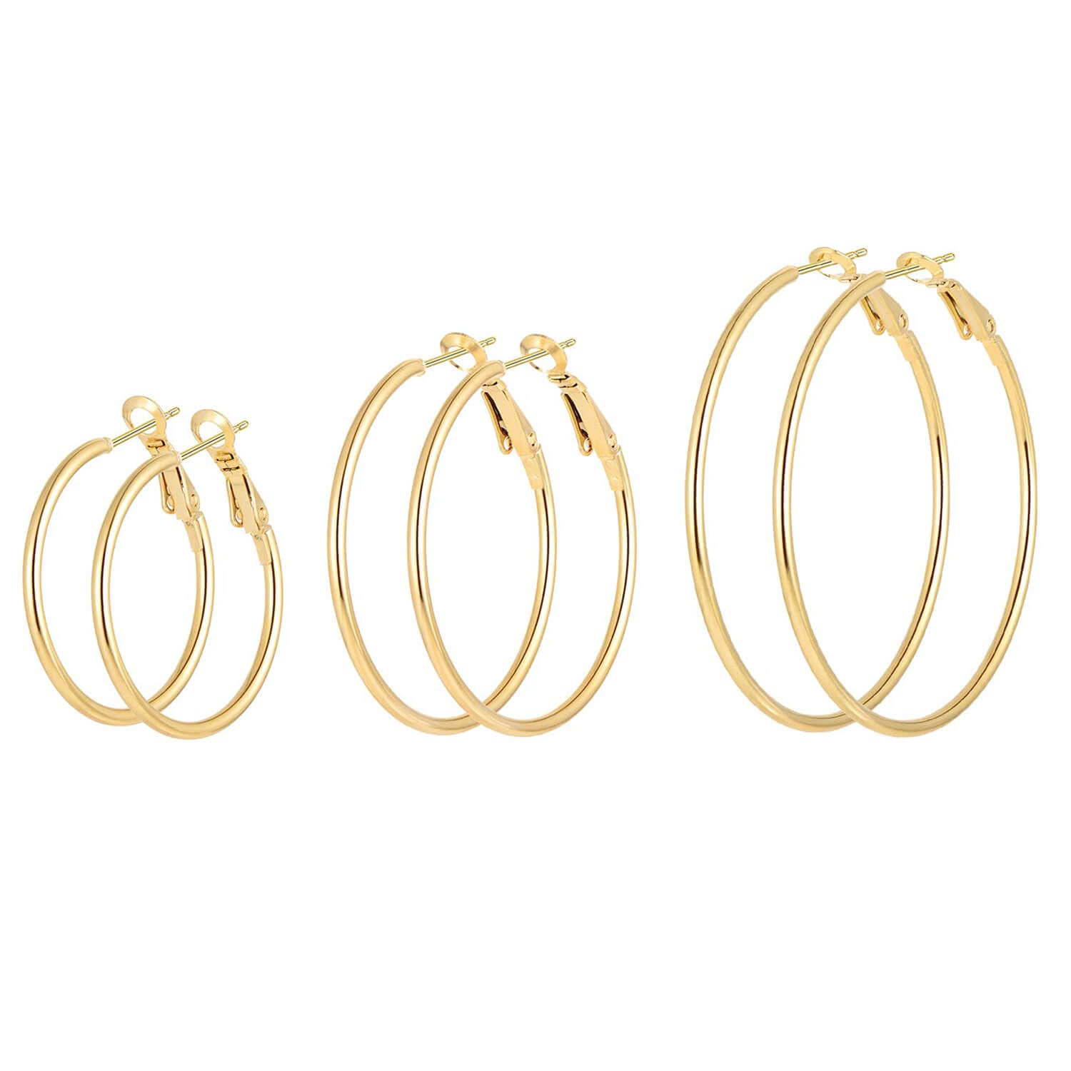 3 Pairs Big Hoop Earrings Stainless Steel Hypoallergenic Dainty Loop Earrings for Women Girls(40 50 60mm)