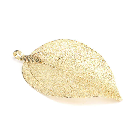 6PCS Gold Plated Natural Real Filigree Leaf Pendants
