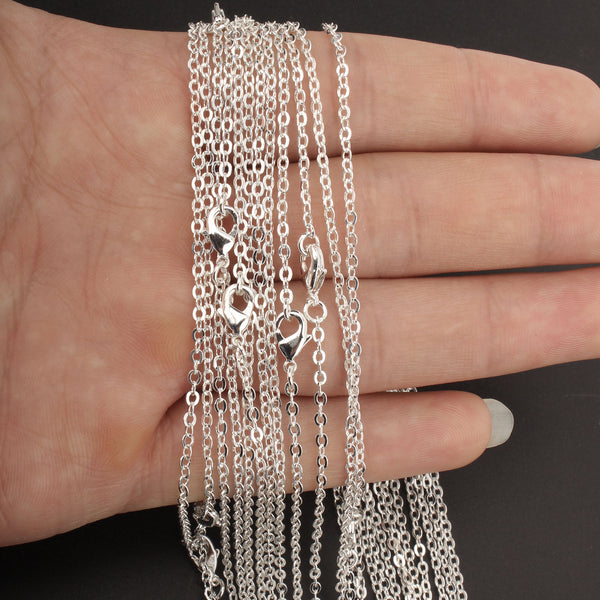 12 PCS Silver Plated over Solid Brass Chain 18-30 Inches, 2MM