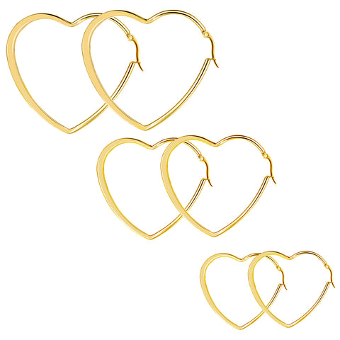 3Pairs Stainless Steel Heart Shape Hoop Earrings