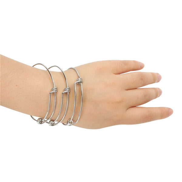 12 PCS 2.6 inches Adjustable Wire Blank Stainless Steel Bangle Bracelet