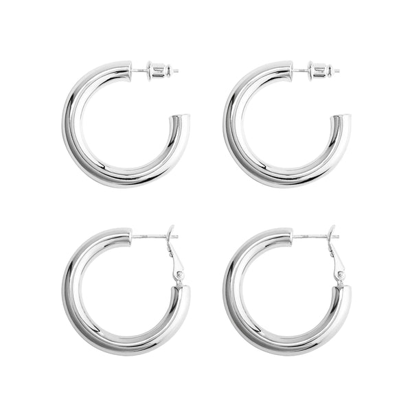 2 Pairs Chunky Tube Hoop Earrings