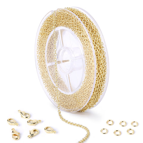 33 Feet 2 MM Gold Plated Solid Brass Cable O Chain Spool