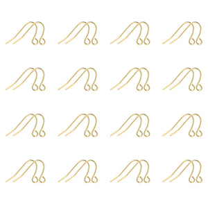 200PCS 14K Yellow Gold Plated Brass Earring Hooks