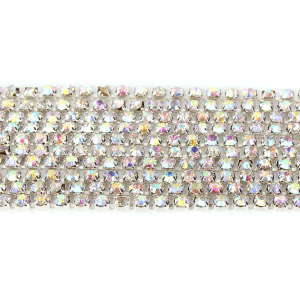 Clear Glass Crystal Rhinestone Close Trim Cup Chain, AB Colors, 10Yard, 3 MM