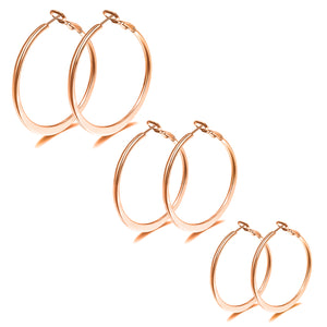 3Pairs Flat Big Hoop Earrings Stainless Steel Earrings