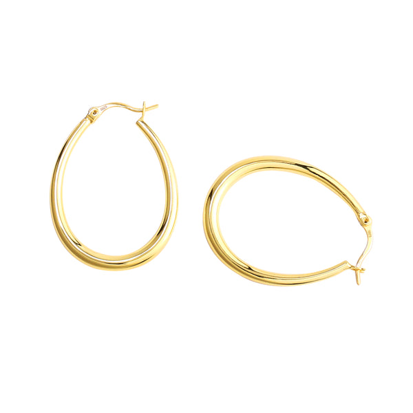 Lightweight Oval Tube Hoop Earrings