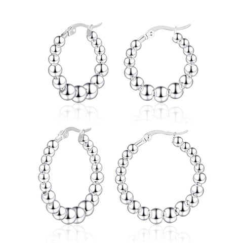 2 Pairs Silver Plated Stainless Steel Beads Hoop Earrings Sets