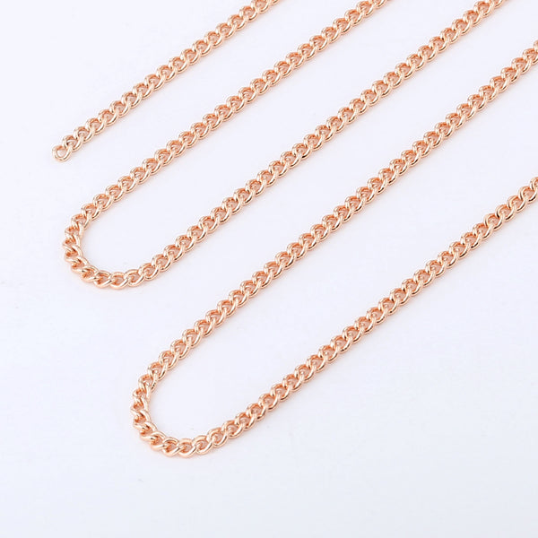 33 Feet 2MM Rose Gold Plated Solid Brass Curb Link Chain Spool