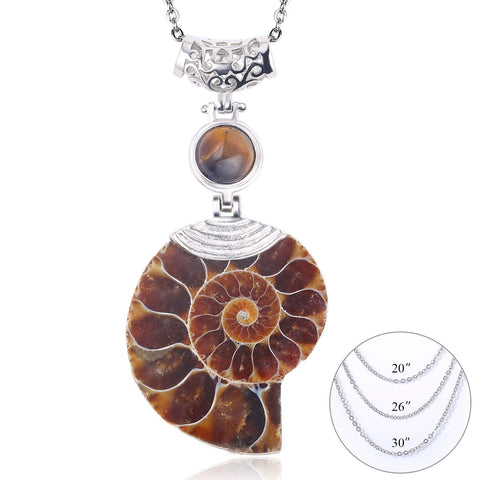 Natural Ammonite Fossil Ursula Conch Shell Pendant with 3 Free Chains