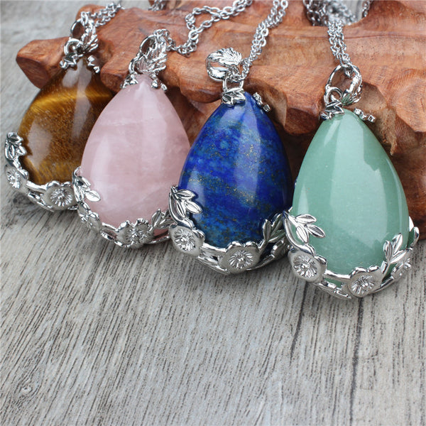 3 PCS Natural Quartz Crystal Teardrop Pendant