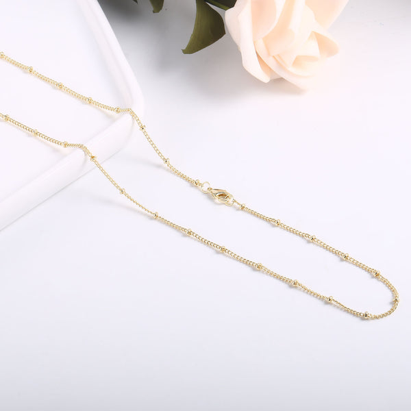 1PC 14K Gold Plated Satellite Curb Chain Necklace