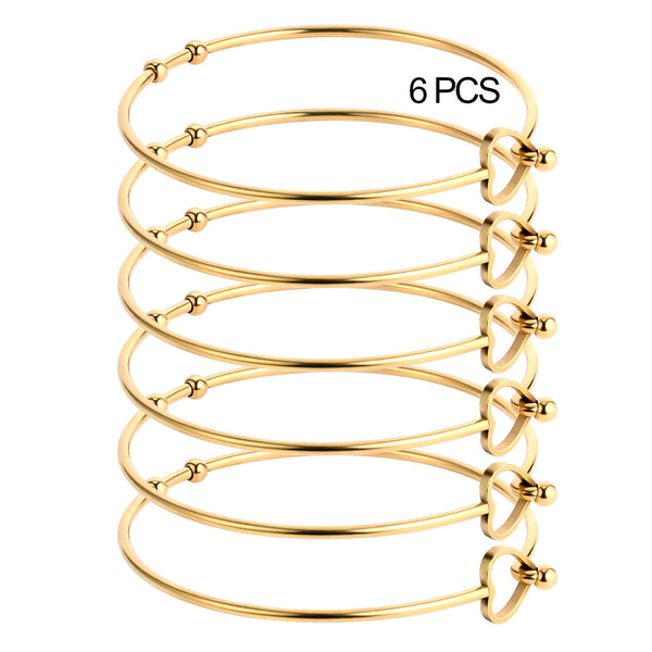 6PCS Heart Knot 18K Gold Plated Stainless Steel Bracelet Bangle
