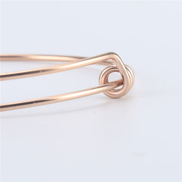 12 PCS Rose Gold Plated Stainless Steel Wire Blank Bangle Adjustable Bracelet 2.6 - 3 Inches