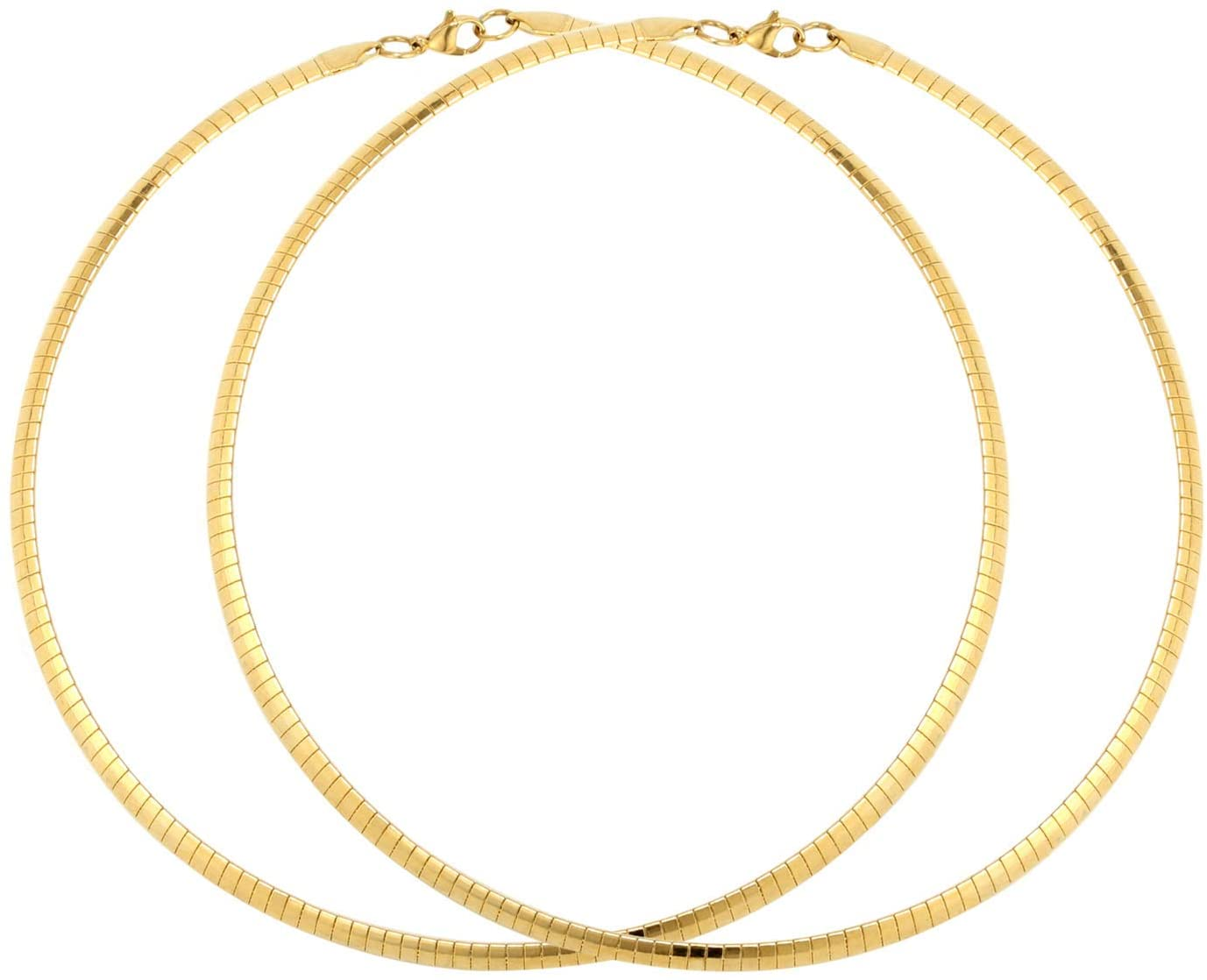 2PCS 18K Gold Plated Stainless Steel Omega Necklace Flat Snake Chain