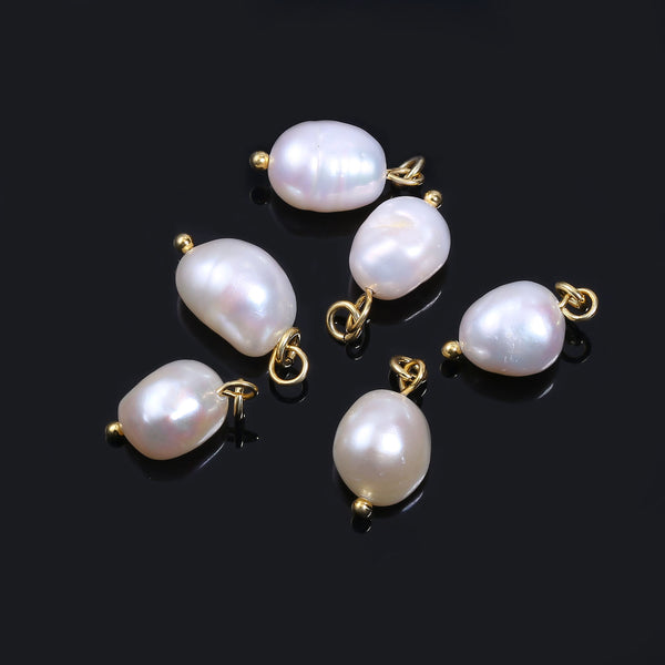 6 PCS 14K Gold Plated Freshwater Baroque Pearl Charms Pendant