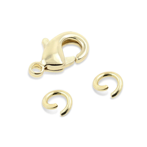 50 PCS 9mm Small Lobster Clasps and 100 PCS 4mm Open Jump Rings Set