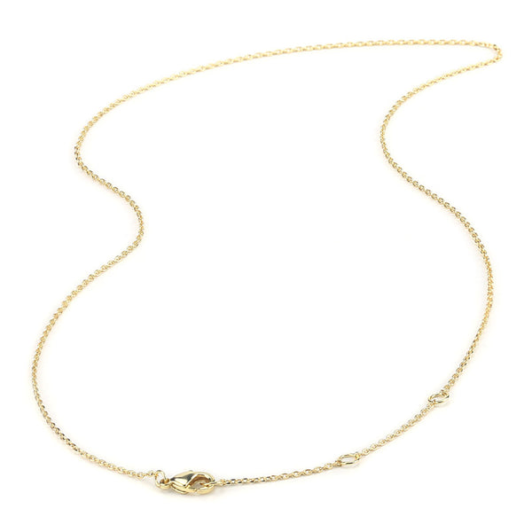 6 PCS 18 Inch 1MM 14K Gold Plated Brass Adjustable Cable O Chain