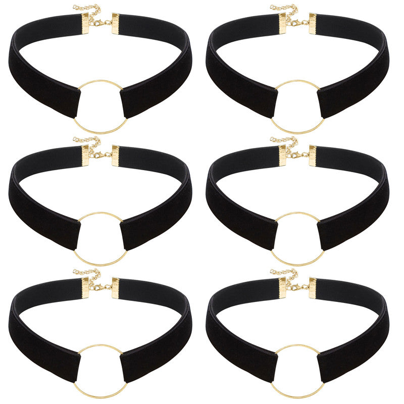 6PCS 0.6 Inch Choker Necklace Black Velvet Choker Sets