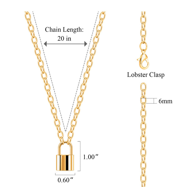 2PCS Chunky Lock Pendant Chain Y Necklace Sets
