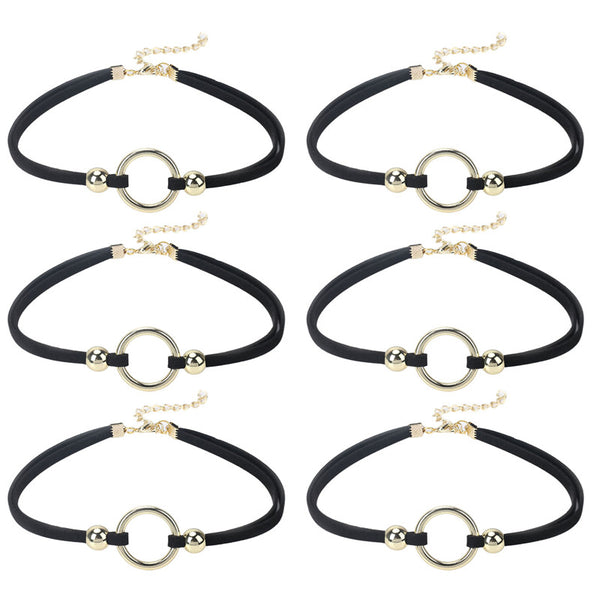 0.4 Inch 6 PCS Choker Necklace Black Velvet Choker Set